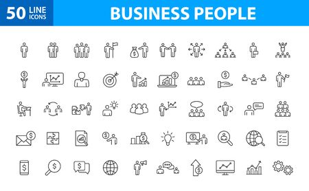 Set of 50 Teamwork web icons in line style. Team Work, people, support, business. Vector illustration  イラスト・ベクター素材