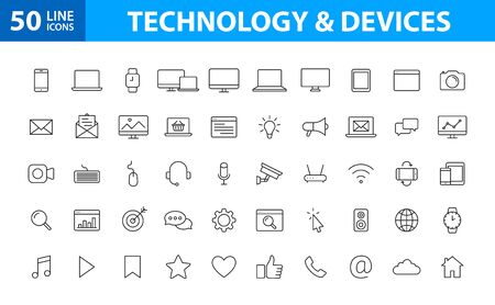 Set of 50 Device and technology web icons in line style. Computer monitor, smartphone, tablet and laptop. Vector illustration
