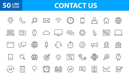 Set of 50 Contact Us icons in line style. Web and mobile icon. Chat, support, message, phone. Vector illustration Ilustração