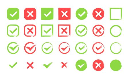 Hand drawn Green check mark and red cross icon set. Circle and square. Tick symbol in green color, vector illustration.