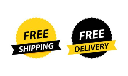 Free delivery or free shipping labels. Banner template. Vector illustration. Çizim