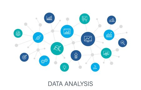 Concept Data Analysis web icons in line style. Graphs, Analysis, Big Data, growth, chart, research. Digital network, social media. Vector illustration