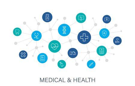 Koncepcja medycyna i zdrowie web ikony w stylu linii. Medycyna i opieka zdrowotna, RX, infografika. Sieć cyfrowa, media społecznościowe. Ilustracja wektorowa.