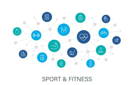 Concept Sport and Fitness web icons in line style. Soccer, nutrition, workout, teamwork. Digital network, social media. Vector illustration. Çizim
