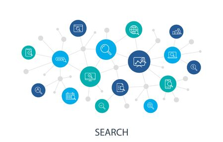 Concept Search web icons in line style. SEO analytics, Digital marketing data analysis, Employee Management. Digital network, social media. Vector illustration.