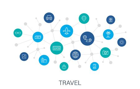 Concept Travel web icons in line style. Transport, Luggage, food, navigation, holiday. Digital network, social media. Vector illustration. Çizim