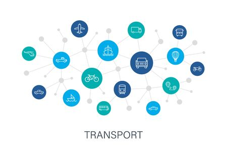 Concept Transport web icons in line style. Train, Airplane, car, bus, helicopter, bike. Digital network, social media Vector illustration