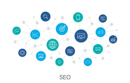 Concept SEO and Development web icons in line style. Contact, Target, Website. Digital network, social media. Vector illustration.