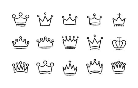 Big collection quolity crowns. Royal Crown icons collection set. Vintage crown. Hand drawn sketch crowns. Vector illustration.