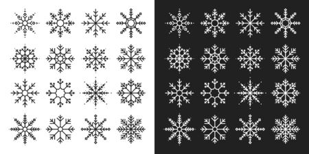 Snowflakes big set icons. Flake crystal silhouette collection. Happy new year, xmas, christmas. Snow, holiday, cold weather, frost. Winter design elements. Vector illustration