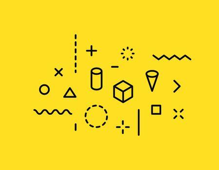Geometric shapes. Memphis design, retro elements for web, vintage, advertisement, commercial banner, poster, leaflet, billboard, sale Collection trendy halftone vector geometric shapes