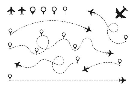 Airplane routes set. Plane paths. Aircraft tracking, planes, travel, map pins, location pins Vector illustration Çizim