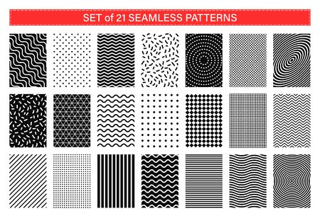 Set of 21 memphis seamless patterns. Collection of geometric abstract background. Retro style 80-90s Çizim