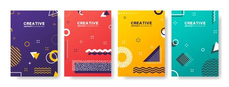 Abstract geometric patterns. Gradients covers design. Set of business brochure, applicable for placards, banners, posters, flyers. Vector illustration