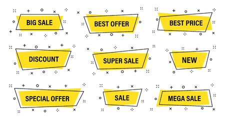 Sale tags collection. Geometric abstract design. Special offer, big sale, discount, best price, mega sale banner set. Shop or online shopping. Sticker, badge, coupon store Vector Illustration