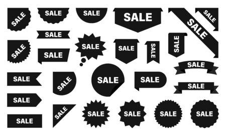 Sale and New Label collection set. Sale tags. Discount red ribbons, banners and icons. Shopping Tags. Sale icons. Red isolated on white background, vector illustration