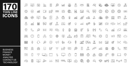 Big vector collection of 170 thin line Web icon. Business, contact us, money, analysis, banking, technology, social media. Set icons. Vector illustration Çizim