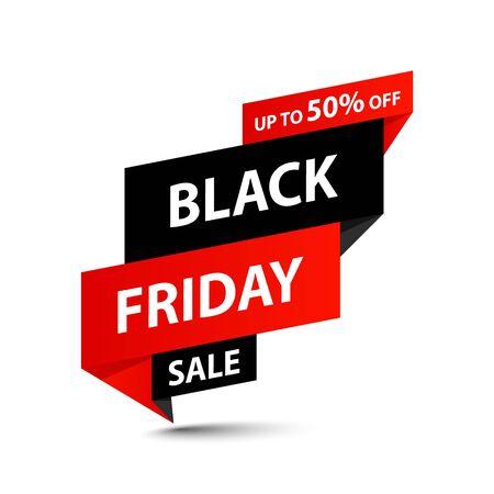 Black Friday Sale-Tag. Sonderangebot, großer Verkauf, Rabatt, bester Preis, Mega-Sale-Banner. Shoppen oder Online-Shopping. Aufkleber, Abzeichen, Coupon-Shop-Vektor-Illustration