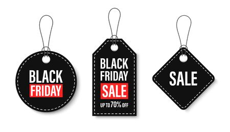 Black Friday sales tags and labels, template shopping labels. Blank, discount and price tags on paper. Special offer. Black Friday. Vintage. Big set. Vector illustration 向量圖像