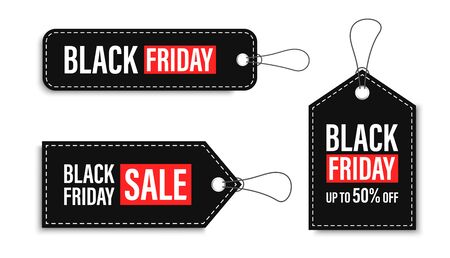 Black Friday sales tags and labels, template shopping labels. Blank, discount and price tags on paper. Special offer. Black Friday. Vintage. Big set. Vector illustration Çizim