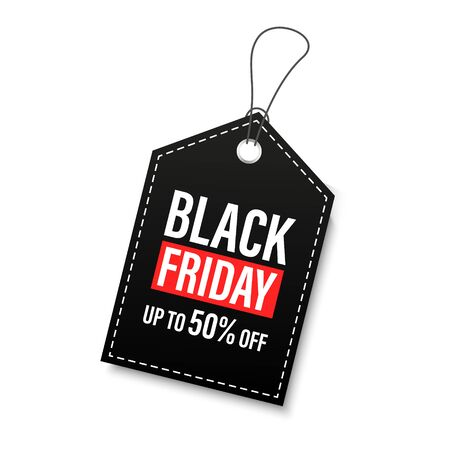 Black Friday sales tags and labels, template shopping labels. Blank, discount and price tags on paper. Special offer. Black Friday. Vintage. Vector illustration Çizim