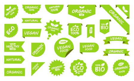 Set of Vegan, eco, bio, organic, fresh, healthy, 100 percent, nateral food. Natural product Collection of emblem cafe badges tags packaging Vector illustration