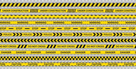 Creative Police line black and yellow stripe border. Police, Warning, Under Construction, Do not cross, stop, Danger. Set of danger caution seamless tapes. Crime places. Construction sign 일러스트