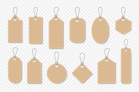 Set of sale tags and labels, template shopping labels. Blank, discount and price tags on paper. Special offer. Vintage. Vector illustration