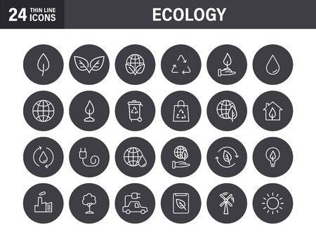 Set of Ecology web icons in line style. Electric Car, Organic, environmental energy. Vector illustration