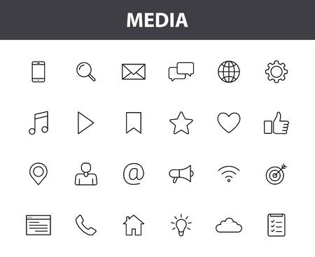 Set of 24 Media web icons in line style. Social, networks, feedback, communication, marketing, thumb up. Vector illustration