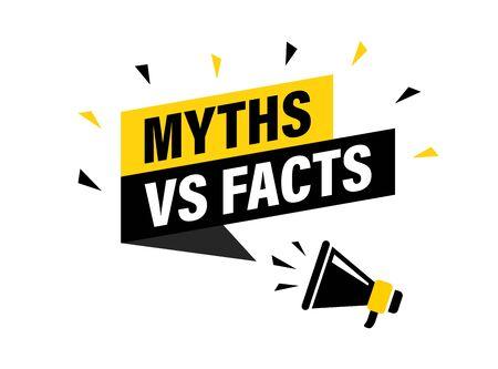 Mannenhand met megafoon met Myths vs feiten tekstballon. Luidspreker. Banner voor zaken, marketing en reclame. vector illustratie