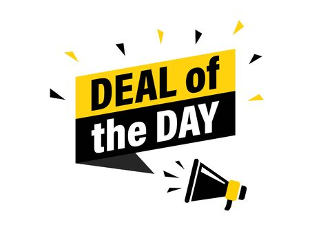 Male hand holding megaphone with deal of the day speech bubble. Loudspeaker. Banner for business, marketing and advertising. Vector illustration 일러스트