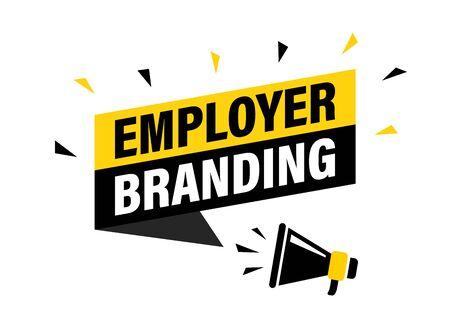 Male hand holding megaphone with employer branding speech bubble. Loudspeaker. Banner for business, marketing and advertising. Vector illustration Vettoriali