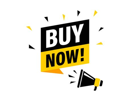 Male hand holding megaphone with buy now speech bubble. Loudspeaker. Banner for business, marketing and advertising. Vector illustration
