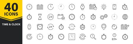 Set of 40 Time and clock web icons in line style. Timer, Speed, Alarm, Calendar. Vector illustration