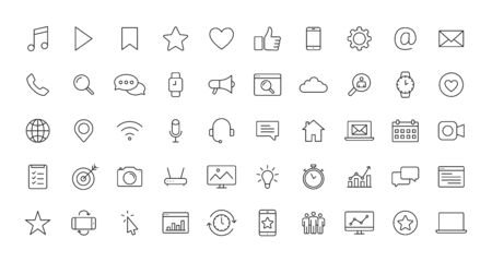 Set of Social Media icons in line style. Contact, digital, social networks, technology, website. Vector illustration