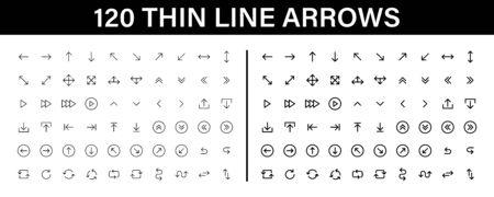 Arrows big black set 120 icons. Arrow icon. Arrow vector collection. Arrow. Cursor. Modern simple arrows. Vector illustration 일러스트