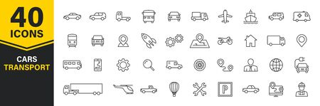 Set of 40 Cars and transport web icons in line style. Airplane, bus, parking, travel, train, comfortable. Vector illustration