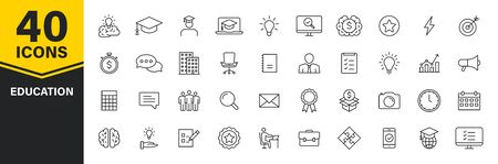 Set of 40 Education and Learning web icons in line style. School, university, textbook, learning. Vector illustration 일러스트