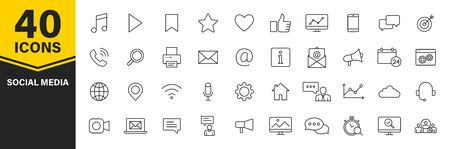 Set of 40 Social Media icons in line style. Contact, digital, social networks, technology, website. Vector illustration 일러스트