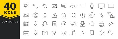 Set of 40 Contact Us icons in line style. Web and mobile icon. Chat, support, message, phone. Vector illustration 일러스트