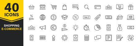 Set of 40 E-commerce and shopping web icons in line style. Mobile Shop, Digital marketing, Bank Card, Gifts. Vector illustration
