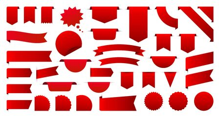 Sale and New Label collection set. Sale tags 30, 50, 70. Discount red ribbons, banners and icons. Special offer. Shopping Tags. Sale icons. Red isolated on white background, vector illustration Vetores