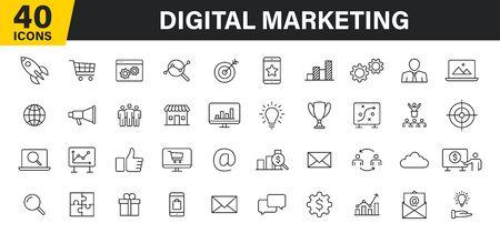 Set of 40 Digital Marketing web icons in line style. Social, networks, feedback, communication, marketing, ecommerce. Vector illustration