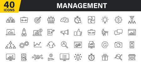 Set of 40 Management web icons in line style. Media, teamwork, business, planning, strategy, marketing Vector illustration