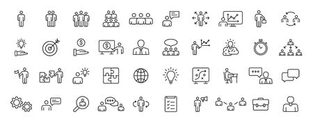 Set of 40 Teamwork icons in line style. Team Work, people, support, business. Vector illustration