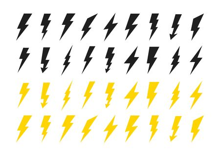 Lightning icons set. Thunder and Bolt. Flash icon. Lightning bolt. Black and yellow silhouette. Vector Illustration 일러스트