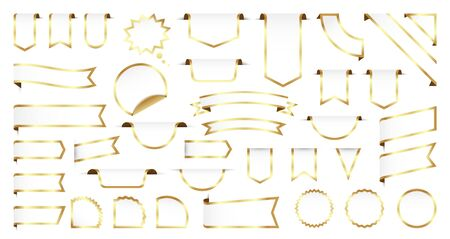 Sale and New Label collection set. Sale tags 30, 50, 70. Discount red ribbons, banners and icons. Special offer. Shopping Tags. Sale icons. Gold isolated on white background, vector illustration