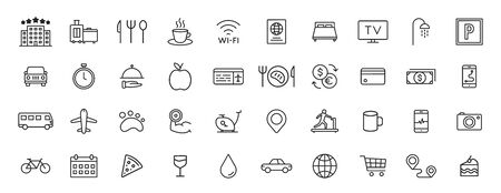 Set of 40 Hotel web icons in line style. Room, business, parking, travel, sleeping, comfortable Vector illustration