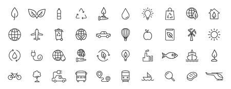 Set of 40 Ecology web icons in line style. Electric Car, Organic, environmental energy. Vector illustration